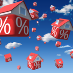 raining houses with percent signs used to illustrate the bank of america mortgage rates